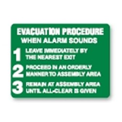 Sign 450X300  Poly  Evacuation Procedure When Alarm Sounds