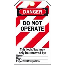 Brady Do Not Operate Lockout Tag
