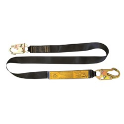B-Safe Shock Absorbing Lanyard with Webbing and Snap Hooks - 1m