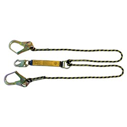 B-Safe Shock Absorbing Twin Lanyard with Kernmantle Rope and Snap/Scaffold Hooks