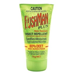 Bushman Plus Gel 80% Deet Insect Repellent with Sunscreen 75g Tube Pack