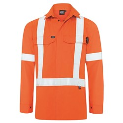 Boomerang Mens Hi-Vis FR Button-Up Shirt with Reflective Tape