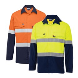 Boomerang Mens Hi-Vis FR Button-Up Shirt with Reflective Tape PPE1