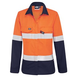 Boomerang Womens Hi-Vis FR Button-Up Shirt with Reflective Tape PPE1