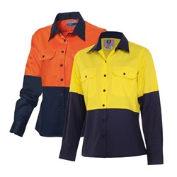 WS Workwear Womens Hi-Vis Ripstop Button-Up Shirt