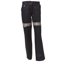 WS Workwear Womens Drill Trousers with Reflective Tape