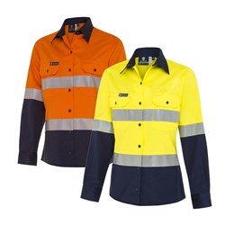 WS Workwear Womens Hi-Vis Button-Up Shirt with Reflective Tape