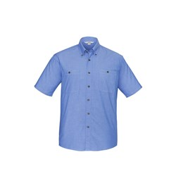 Biz Collection Mens Chambray Wrinkle Free Short Sleeve Shirt