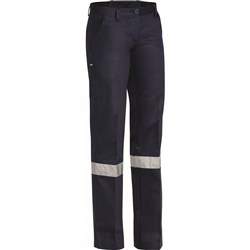 Bisley Ladies Cotton Drill Work Pant with 3M Reflective Tape