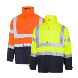 WS Workwear Hi-Vis Waterproof 6-in-1 Jacket with Reflective Tape