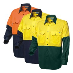 WS Workwear Mens Hi-Vis Classic Drill Shirt