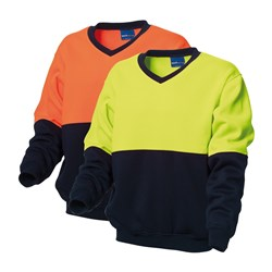 WS Workwear Hi-Vis V-Neck Fleece Jumper