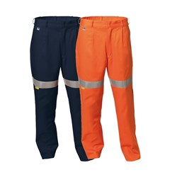 WS Workwear Mens Hi-Vis Drill Trousers with Reflective Tape