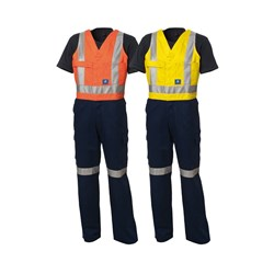 WS Workwear Mens Action-Back Drill Overall with Reflective Tape