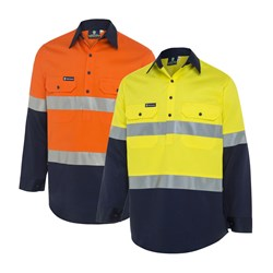 WS Workwear Mens Hi-Vis Half-Button-Up Shirt with Reflective Tape