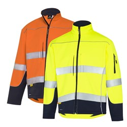 WS Workwear Hi-Vis Water Resistant Soft Shell Jacket with Reflective Tape