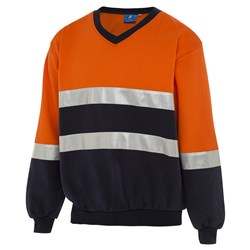 WS Workwear Hi-Vis V-Neck Fleece Jumper with Reflective Tape