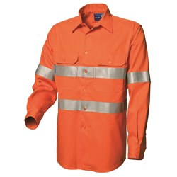 WS Workwear Mens Hi-Vis Fire Retardant Button-Up Shirt with Reflective Tape