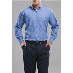 Biz Collection Mens Chambray Wrinkle Free Long Sleeve Shirt