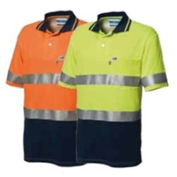 Short Sleeve Cotton Back Polo Shirt With Reflective Tape 1 Row