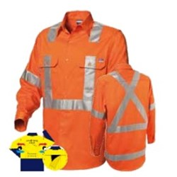 Shirt - Mens Long Sleeve High Vis Taped H Front X Back Koolflow