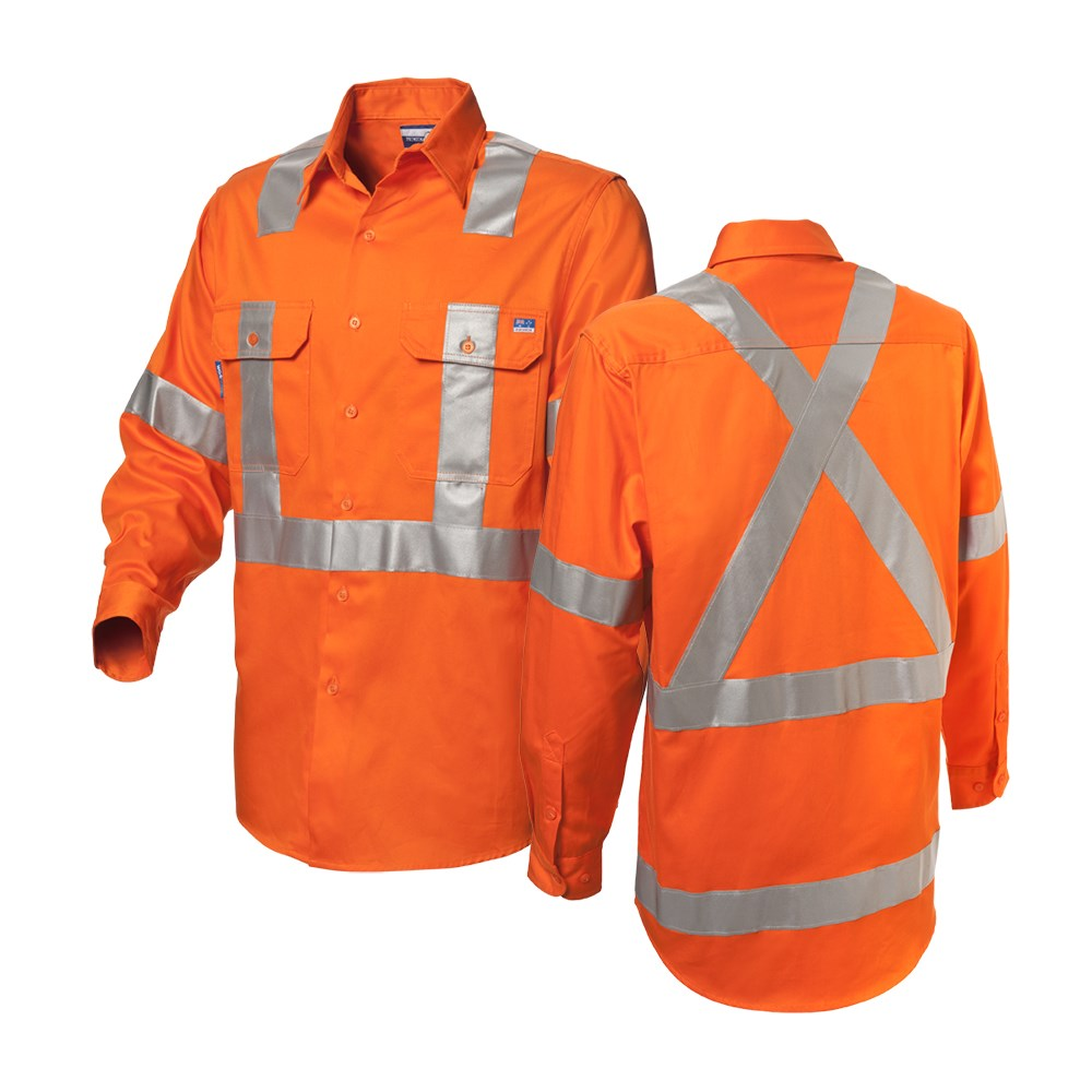 popular brand color brilliancy release date: WS Workwear Koolflow Mens Hi-Vis Button-Up Shirt with H-X-Reflective Tape