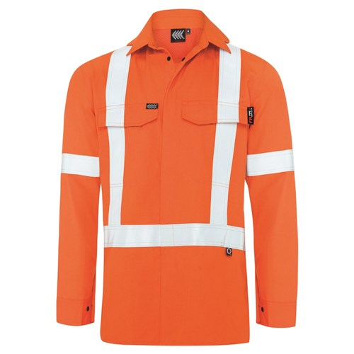 Boomerang Mens Hi-Vis FR Button-Up Shirt with Reflective Tape PPE2