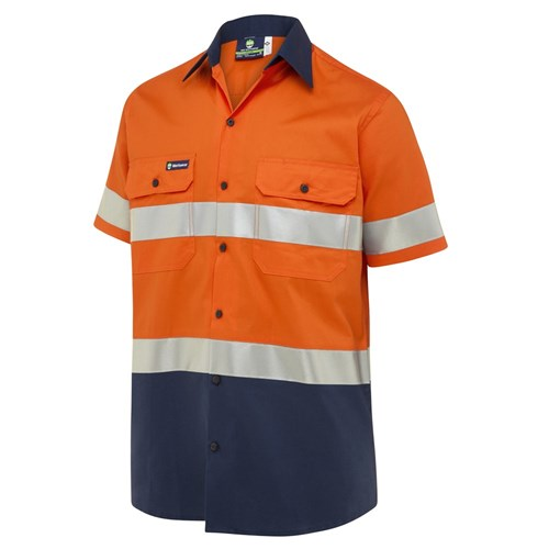 WS Workwear Koolflow Mens Button-Up Shirt with Reflective Tape